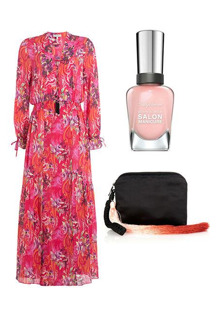 """As the spring carnival season winds down at Stakes Day, you can afford to channel a more relaxed vibe. A bright maxi with a pale peachy-pink manicure is race day perfection. <br><br>Dress, $1,850, <a href=""""http://www.stylebop.com/au/product_details.php?id=719128"""">Etro at Stylebop</a> Wristlet Clutch, $2,664, <a href=""""http://www.matchesfashion.com/au/products/The-Row-Ombr%C3%A9-tassel-satin-wristlet-clutch-1027674"""">The Row at Matches Fashion</a> Complete Salon Manicure in Arm Candy, $14.95, <a href=""""https://au.sallyhansen.com/nails/nail-color/color/complete-salon-manicure"""">Sally Hansen</a>"""