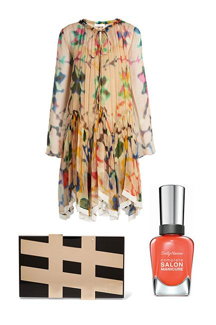 """Pick out a colour from your dress and hero that in your manicure. This layered silk dress works well with a monochrome box clutch and punchy orange nails. <br><br>Dress, $3,572, <a href=""""http://www.matchesfashion.com/au/products/Chlo%C3%A9-Abstract-print-silk-georgette-dress--1066201"""">Chloé at Matches Fashion</a> Clutch, $1,687, <a href=""""https://www.net-a-porter.com/au/en/product/806091/charlotte_olympia/-pandora-embellished-perspex-clutch"""">Charlotte Olympia at Net-a-Porter</a> Complete Salon Manicure in Firey Island, $14.95, <a href=""""https://au.sallyhansen.com/nails/nail-color/color/complete-salon-manicure"""">Sally Hansen</a>"""