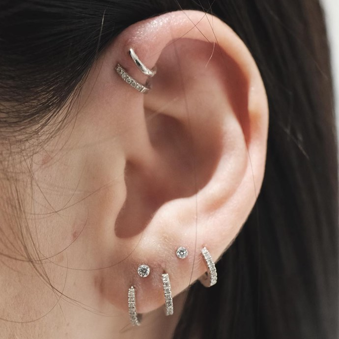 "<p>High lobe piercings were added to this ear to make the final look super special. <p><a href=""https://www.instagram.com/p/BLnYa-xhlT1/"" target=""_blank"">Instagram.com/bentauber</a>"