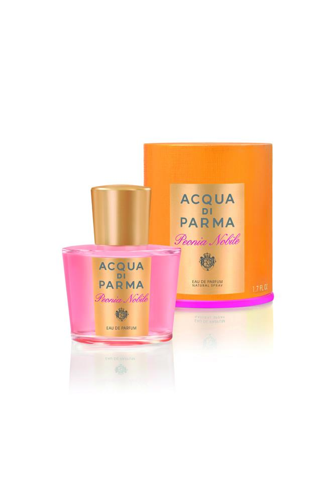"Peony, black pepper, raspberry, geranium, amber and patchouli make for a heady scent. <br><br> <a href=""http://shop.davidjones.com.au/djs/en/davidjones/acqua-di-parma-peonia-nobile-eau-de-parfum?cm_vc="">Peonia Nobile EDP, $160 for 50ml, Acqua di Parma</a>"