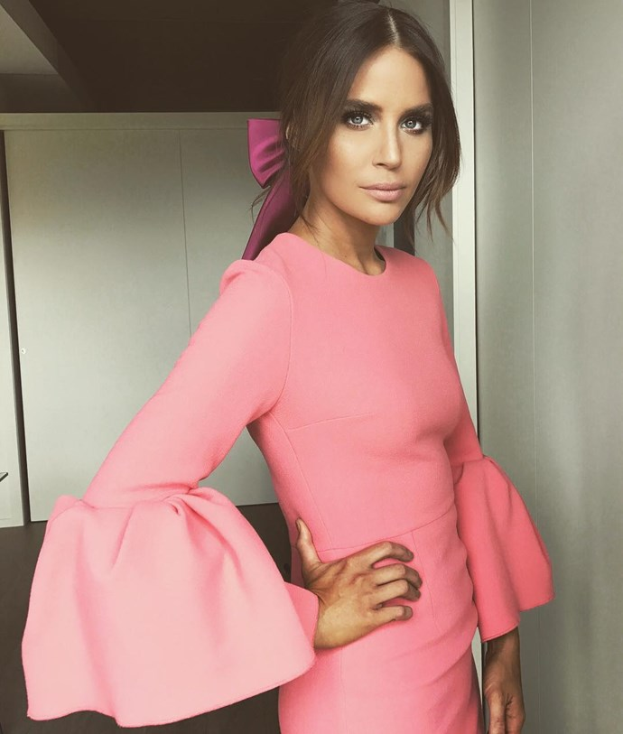 "<p>Jodi Anasta is wearing exaggerated sleeves by Roksanda Ilincic and a pretty pink bow for Cup Day. <p><a href=""https://www.instagram.com/p/BMPtJOEhhVB/"">Instagram.com/jodigordon</a>"
