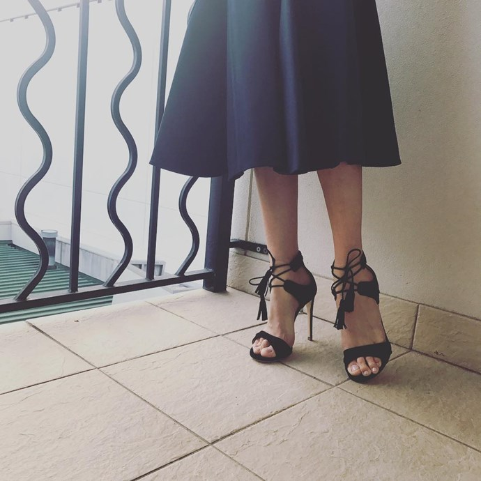 "<p>Here is a close up of Rachael Finch's ""wheels,"" shoes by Dolci Firme, for Cup Day. <p><a href=""https://www.instagram.com/p/BMPh4HkDTLX/"">Instagram.com/rachael_finch</a>"
