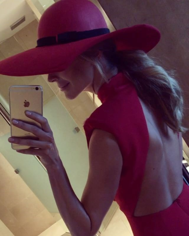 "<p>Jennifer Hawkins is a lady in red in a jumpsuit by Misha Collection and hat by Melissa Jackson Millinery. <p><a href=""https://www.instagram.com/p/BMPraUZjMr0/"">Instagram.com/jenhawkins_</a>"