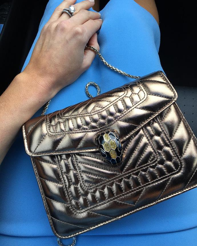 "<p>Nadia Bartel showcased her Bulgari bag for Cup Day. <p><a href=""https://www.instagram.com/p/BMPuo7agCs6/"">Instagram.com/nadiabartel</a>"