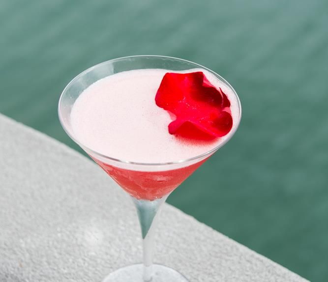 catalina rose bay rose and watermelon vodka martini