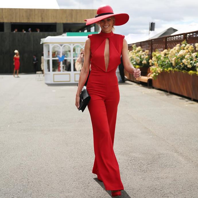 "<p>Here's a full look at Jennifer Hawkins' amazing red Misha Collection jumpsuit on Cup Day. <p><a href=""https://www.instagram.com/p/BMPu1oOBwbc/?taken-by=myer"">Instagram.com/myer</a>"