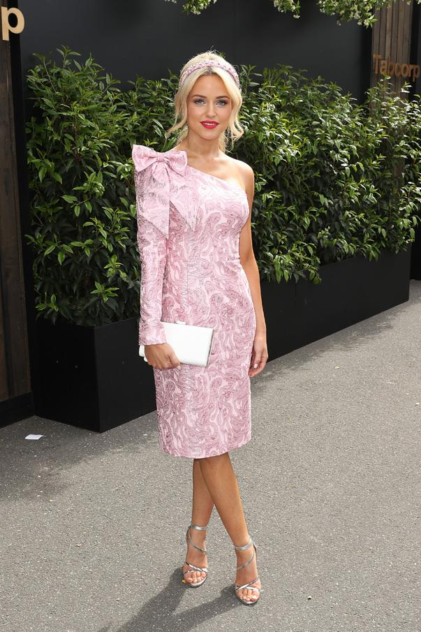 <p>Jessie Habermann in a Christahlea dress.
