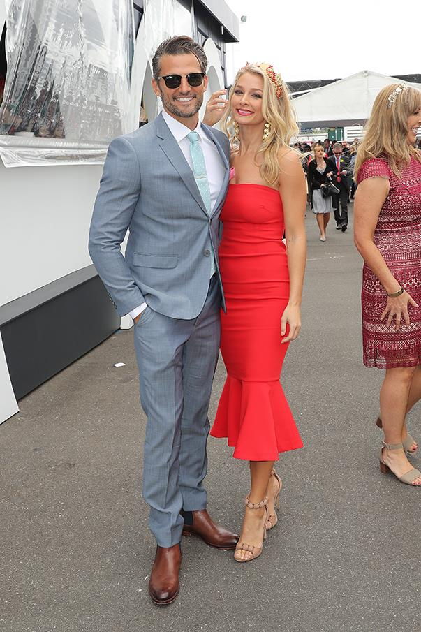 <p>Tim Robards and Anna Heinrich, in a Cinq à Sept dress.