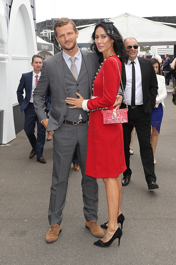<p>Lindy Klim in Dolce & Gabbana with boyfriend Adam Ellis.