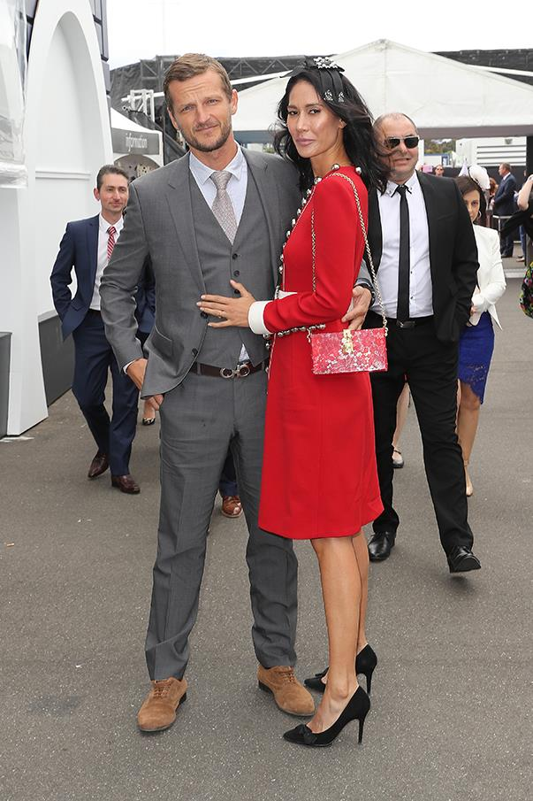 <p>Lindy Klim in Dolce & Gabbana with boyfriend Adam Ellis.