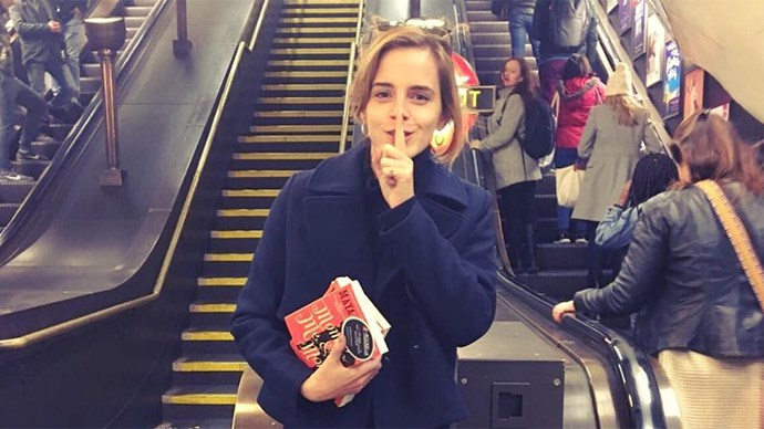 Emma Watson Hiding Books in London Tube