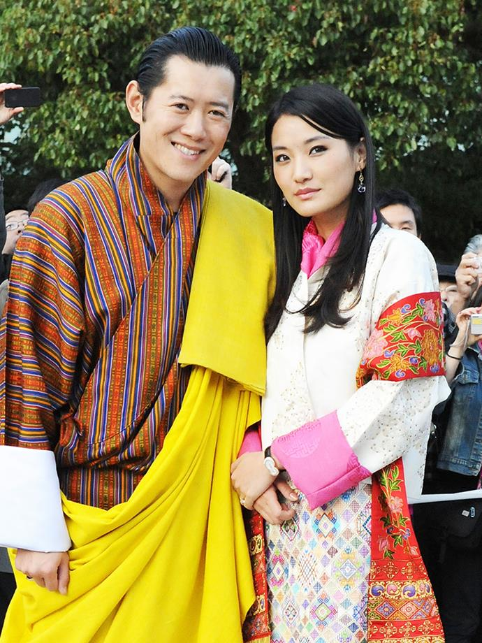 "<p><strong>Jigme Khesar Namgyel Wangchuck and Jetsun Pema of Bhutan</strong> <p>Khesar, also known as the ""Dragon King,"" is the current reigning King of Bhutan, and he's married to Queen Jetsun. Despite their 10-year age gap—at 26, Queen Jetsun is the youngest queen in the world—the Dragon King <a href=""https://www.facebook.com/notes/his-majesty-king-jigme-khesar-namgyel-wangchuck/20-may-2011-royal-address-to-the-7th-session-of-parliament/10150198533636761"">said of his bride</a>, ""Now, many will have their own idea of what a Queen should be like—that she should be uniquely beautiful, intelligent and graceful. I think with experience and time, one can grow into a dynamic person in any walk of life with the right effort. For the Queen, what is most important is that at all times, as an individual she must be a good human being, and as Queen, she must be unwavering in her commitment to serve the People and Country. <br><br> ""As my queen, I have found such a person and her name is Jetsun Pema. While she is young, she is warm and kind in heart and character. These qualities together with the wisdom that will come with age and experience will make her a great servant to the nation."" <p>They reportedly <a href=""http://www.dailymail.co.uk/femail/article-3393983/Meet-Jetsun-Pema-Queen-Bhutan-dubbed-Kate-Middleton-Himalayas.html"">met for the first time</a> at a family picnic in Bhutan's capital, Thimphu, when she was seven and he was 17. They were together for three years before the King proposed. They now have one son, who was born in February 2016."