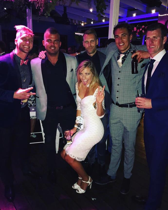 "<p>Lucky Tiffany Scanlon was surrounded by the 2016 <em>Bachelorette</em> boys Ben Lyall, Clancy Ryan, Courtney Dober and Matt D at a Derby Day after-party. <p><a href=""https://www.instagram.com/p/BMLoK4uDR3I/"" target=""_blank"">Instagram.com/instaclancy</a>"