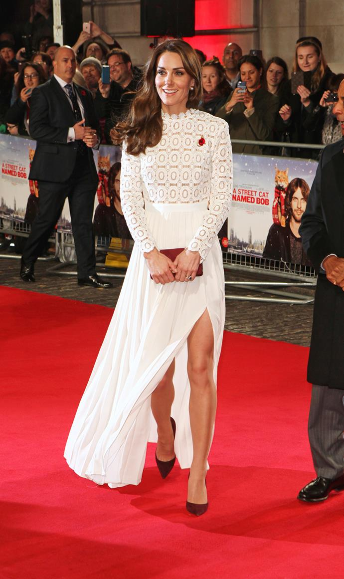 At the recent premiere of 'A Streetcar Named Bob', Duchess Catherine pulled out a Self-Portrait dress, by Malaysian-born designer Han Chong, priced at only $450.
