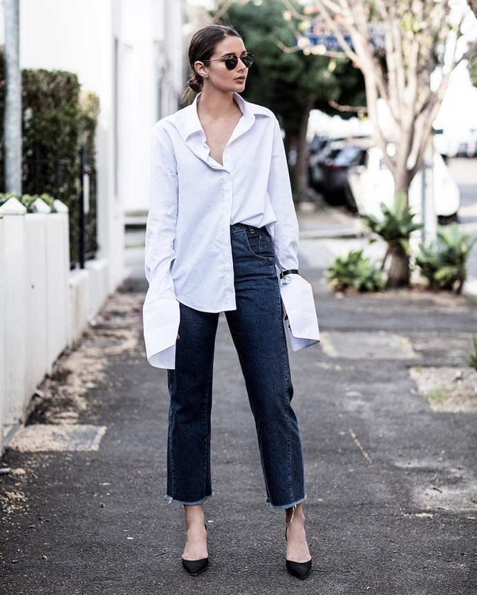 """<p>Anne Shirt With Navy Trim, $300, <a href=""""https://www.theundone.com/collections/anna-quan/products/anna-quan-anne-shirt-with-navy-trim"""">Anna Quan at theundone.com</a>. <p><a href=""""https://www.instagram.com/p/BLqUscrDndA/"""">Instagram.com/harperandharley</a>"""