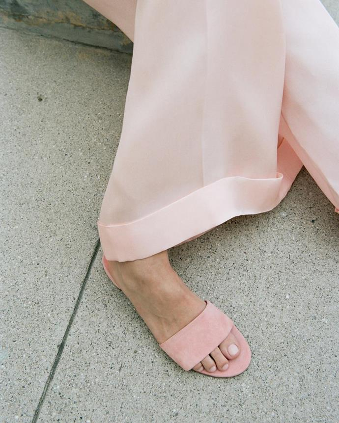 "<p>Vegetable Tanned Flat Single Strap Sandal, approx. $456, <a href=""http://www.mansurgavriel.com/products/vegetable-tanned-flat-single-strap-sandal-cammello"" target=""_blank"">Mansur Gavriel</a>. <p><a href=""https://www.instagram.com/p/BLEytPmAh0H/"">Instagram.com/mansurgavriel</a>"