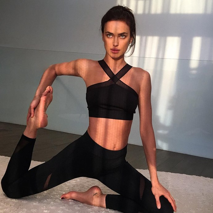 "Irina Shayk <br><br> Shayk told <em>Yahoo</em>, ""I'm this kind of girl that wants to be better every time, that's why I push myself so much to go to the gym, I do a little bit of boxing, I do the Pilates machine, I work out with my personal trainer."""