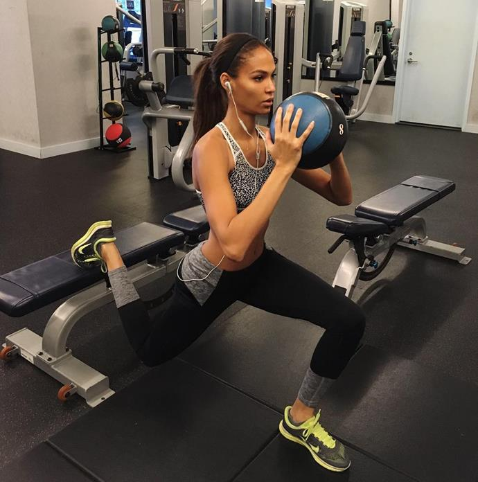 "Joan Smalls <br><Br> Smalls told <em>BAZAAR</em>, ""When the show is coming I go the extra mile and make sure my routines are different. I do three different routines - I'll do kick boxing, I have my personal trainer and I'll do reformer pilates.I do all those three alternate, work out on my own and go for a jog. Its making sure you stay active and have fun doing it and not over stressing it because that might create the anxiety. Just chill!"""