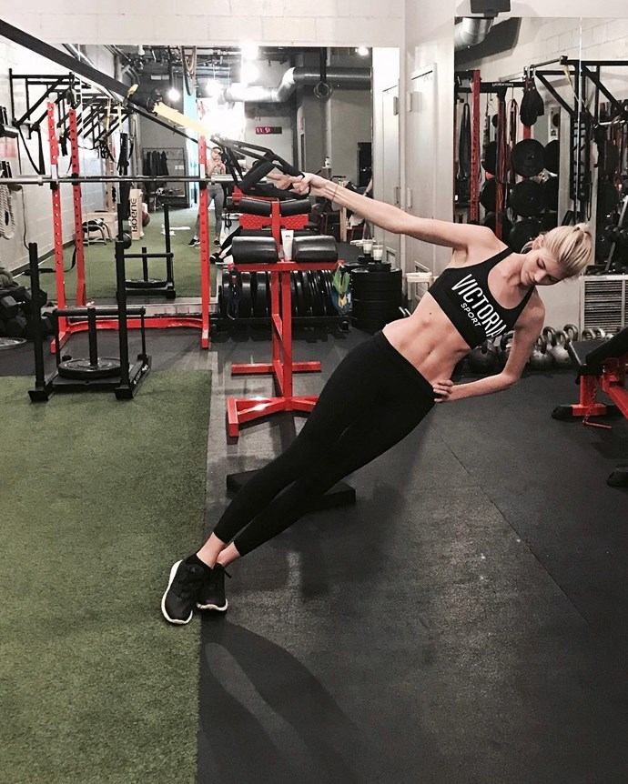 "Devon Windsor <br><Br> ""I like to mix cardio with bodyweight exercises. Adriana [Lima] is really amazing at kickboxing, so that's really great cardio, and then Candice [Swanepoel] kind of inspired me to go."""