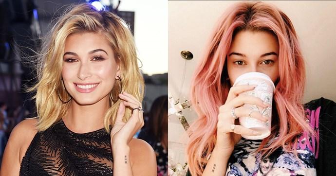 "Hailey Baldwin has left her signature blond locks behind, opting for a fresh shade of bubblegum pink. <br><br> <a href=""https://www.instagram.com/p/BMcP7PqAwWg/?taken-by=haileybaldwin"">@haileybaldwin</a>"