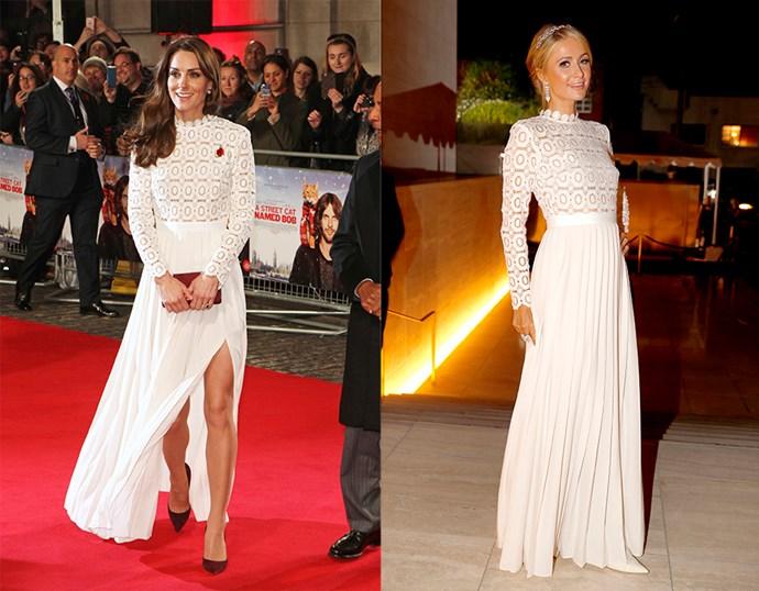 <p> THE SELF-PORTRAIT DRESS<P> <P> Catherine, Duchess of Cambridge in November / Paris Hilton in October.
