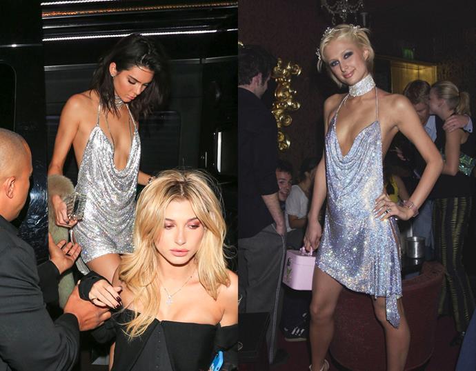 <p> THE SILVER MINI-DRESS<P> <P> Kendall Jenner in November / Paris Hilton in 2002.