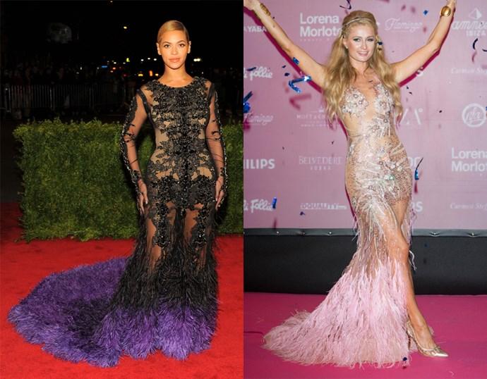 <p> THE NAKED FEATHERED DRESS<P> <P> Beyoncé / Paris Hilton.