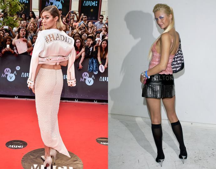 <p> THE MONOGRAMMED LEATHER PIECE<P> <P> Gigi Hadid in June / Paris Hilton in 2003.