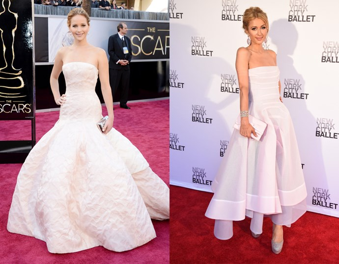 <p> THE WHITE GOWN WITH BELL SKIRT<P> <P> Jennifer Lawrence / Paris Hilton.