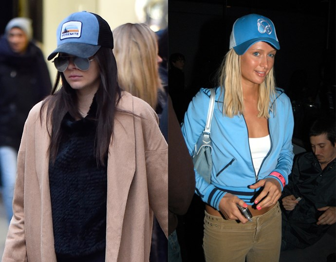 <p> THE BLUE TRUCKER HAT<P> <P> Kendall Jenner in February / Paris Hilton in 2003.