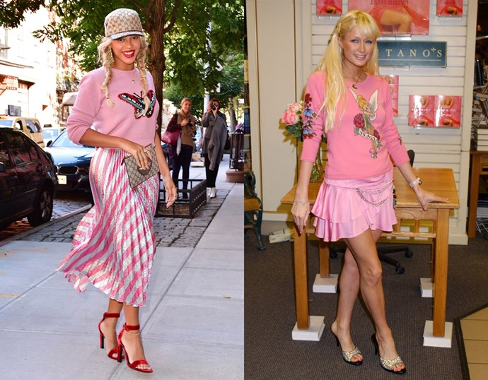 <p> THE PINK EMBROIDERED SWEATER AND SKIRT COMBO<P> <P> Beyoncé in October / Paris Hilton in 2004.