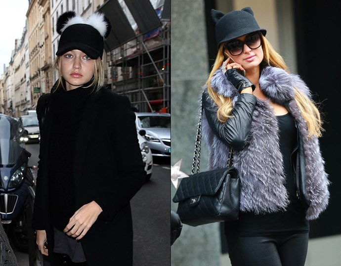<p> THE MOUSE EARS HAT<P> <P> Gigi Hadid in December, 2015 / Paris Hilton in January, 2015.