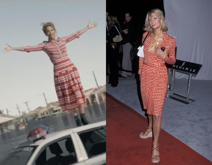 <p> THE RED AND WHITE PRINTED DRESS<P> <P> Beyoncé in 2016 / Paris Hilton in 2001.