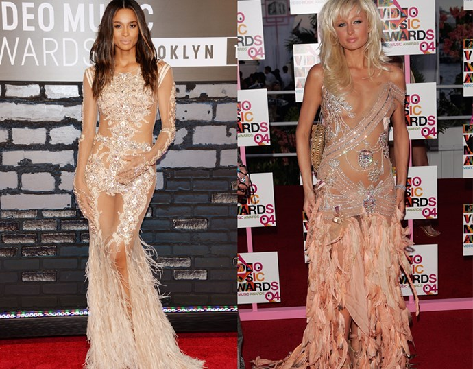 <p> THE NUDE NAKED DRESS WITH FEATHERS> <P> Ciara in 2013 / Paris Hilton in 2004.