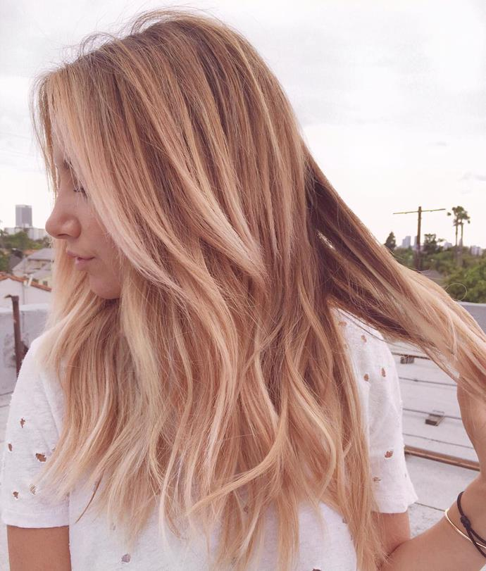 "<p><strong>Ashley Tisdale</strong><br><br><p>Celebrity hairstylist Kristin Ess showed off <a href=""https://www.instagram.com/p/BFDJt_8DDvh/"" target=""_blank"">Ashley Tisdale's ""rose filter"" hair</a>."