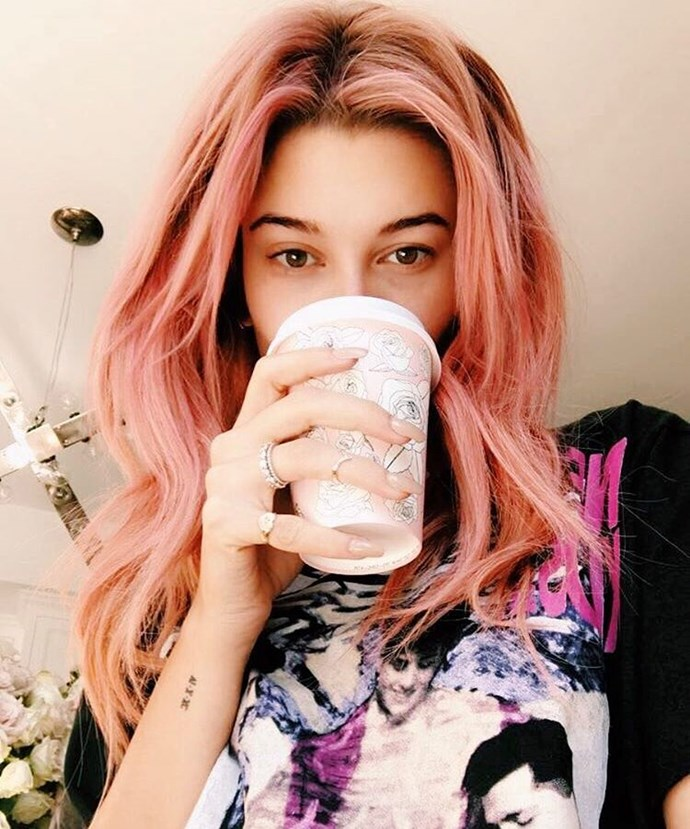 """<p><strong>Hailey Baldwin</strong> <br><br><p><a href=""""https://www.instagram.com/p/BMcP7PqAwWg/"""" target=""""_blank"""">Hailey's pink hair</a> matched her pretty pink coffee cup."""