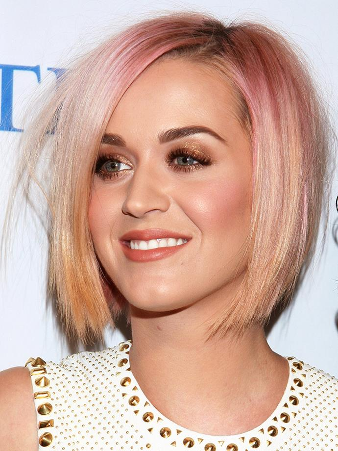 <p><strong>Katy Perry</strong> <br><br><p>Katy, whose hair has been pretty much every colour of the rainbow, had this rose gold bob all the way back in December 2011.