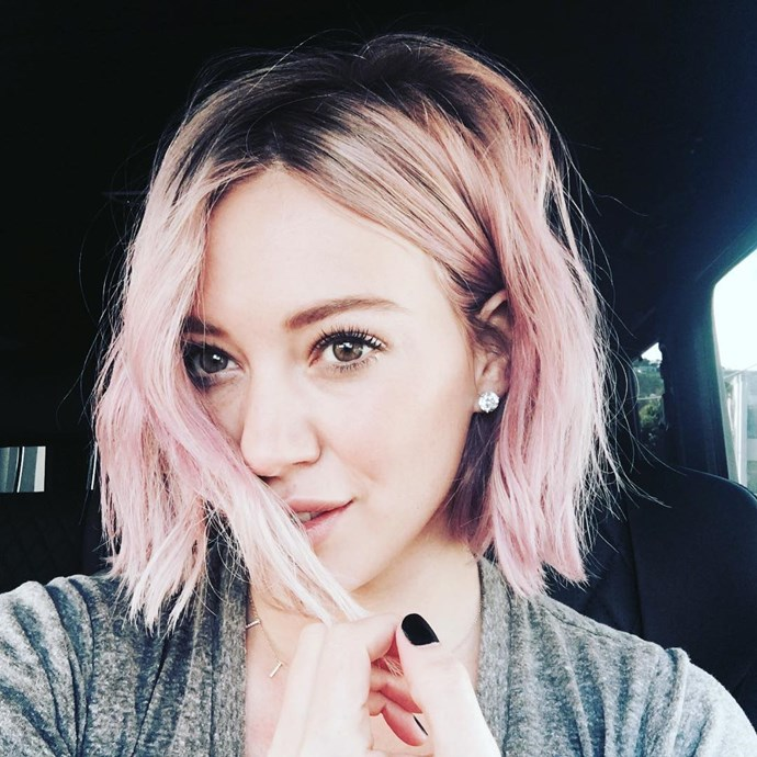 """<p><strong>Hilary Duff</strong><br><br> <p>Hilary's blonde bob went <a href=""""https://www.instagram.com/p/BAzz3LKNTZw/"""" target=""""_blank"""">slightly pink</a> earlier this year."""