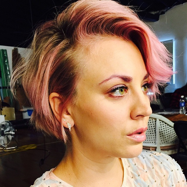 """<p><strong>Kaley Cuoco</strong> <br><br><p>Kaley had <a href=""""https://www.instagram.com/p/3HkgEsuWfL/"""" target=""""_blank"""">pink hair, pink brows and pink lips</a> for a Mane Addicts shoot with Jen Atkin back in May 2015."""