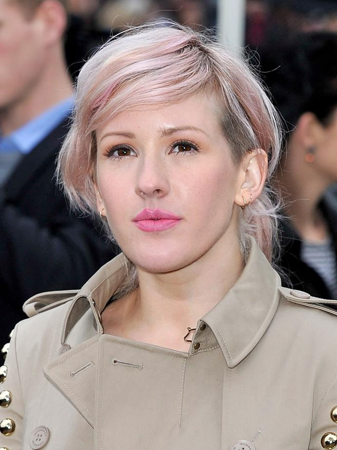 <p><strong>Ellie Goulding</strong><br><br> <p>Ellie was another early adopter of the trend, showing off light pink strands in February 2011.