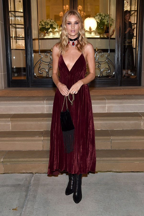 <p> <strong>Rosie Huntington-Whiteley</strong><p> <p> Take the formal edge off a velvet slip dress by adding chunky ankle boots and cool-girl accessories.