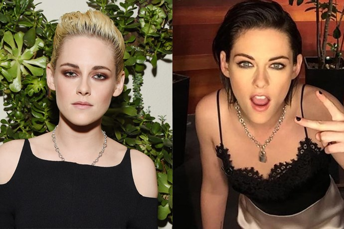 <p> <strong>Kristen Stewart</strong><p> <p> After a brief fling with white-blonde hair, Kristen flipped back to brunette today. As confirmed by this shot from her hair stylist.