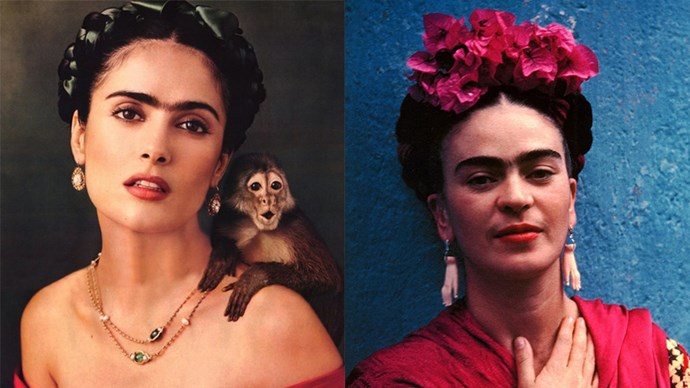 Actress Salma Hayek played the role of Frida Kahlo in the 2002 movie *Frida* and the resemblance is uncanny.