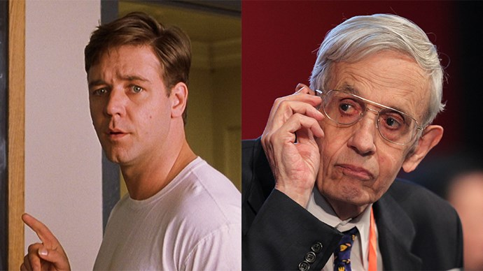 <strong>A<em> Beautiful Mind</em></strong> <br><br> Russell Crowe as John Nash.