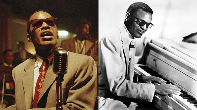 <strong><em>Ray</em></strong> <Br><Br> Jamie Foxx as Ray Charles.