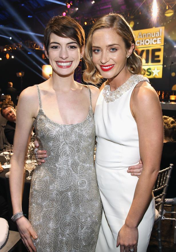 <em>The Devil Wears Prada</em> stars Anne Hathaway and Emily Blunt at the Critics' Choice Movie Awards in 2013.