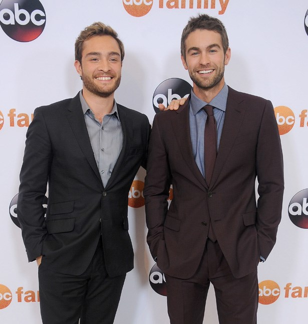 <em>Gossip Girl</em> actors Ed Westwick and Chace Crawford at the TCA Summer Press Tour in 2015.