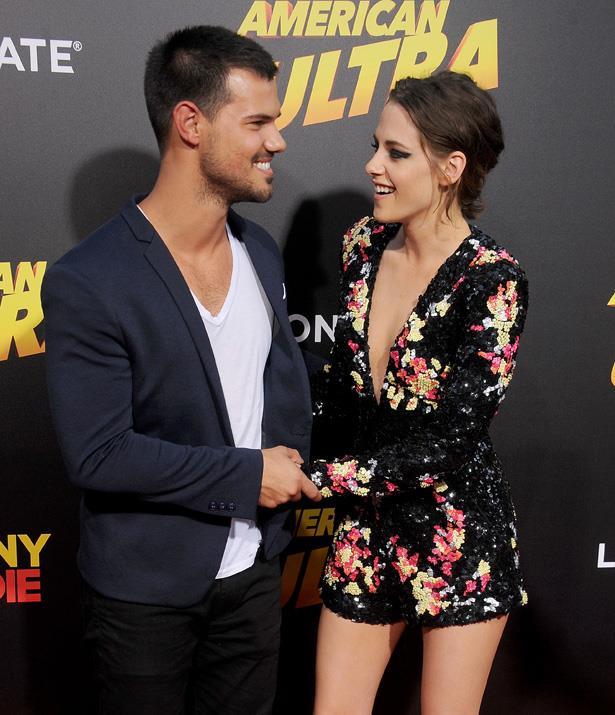 <em>Twilight</em> stars Taylor Lautner and Kristen Stewart at the preimere of <em>American Ultra</em> last year.