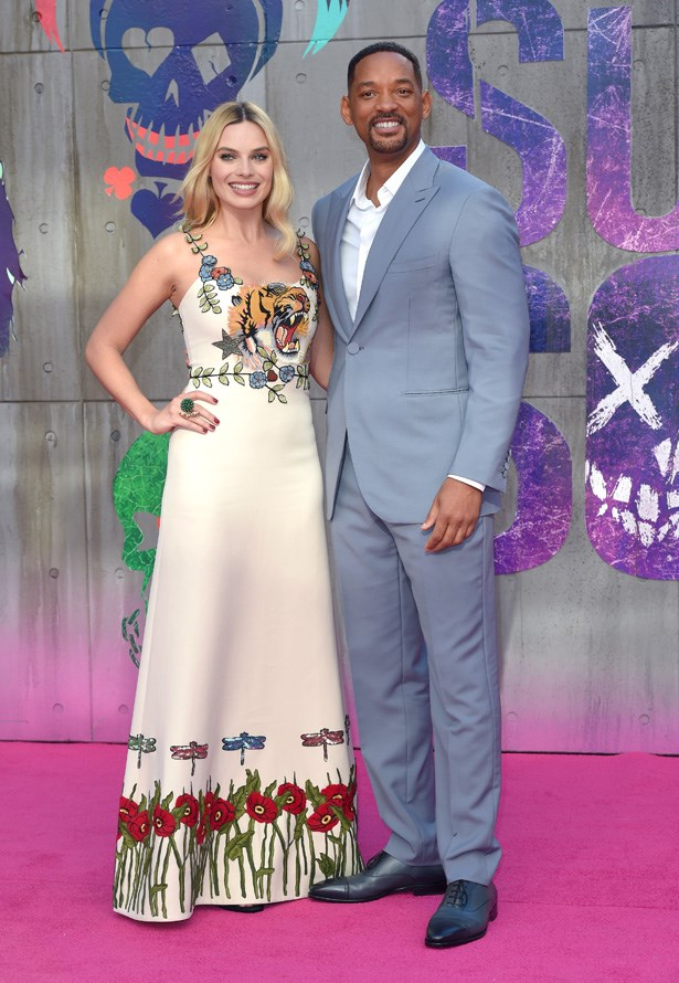 <em>Focus </em> stars Margot Robbie and Will Smith reunite for the <em>Suicide Squad</em> premiere in London earlier this year.