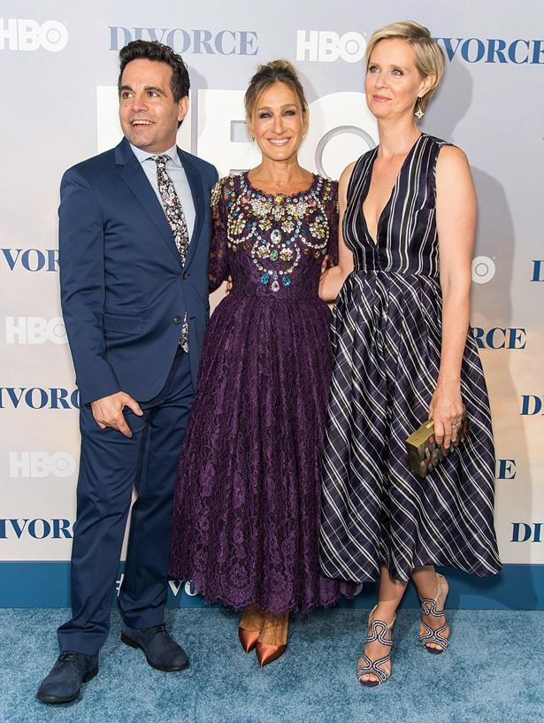 <em>Sex and the City</em> stars Mario Cantone, Sarah Jessica Parker and Cynthia Nixon at the Divorce premiere in New York last month.